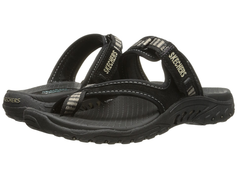 SKECHERS - Reggae - Rasta (Black Suede/ Beige Trim) Women's Sandals