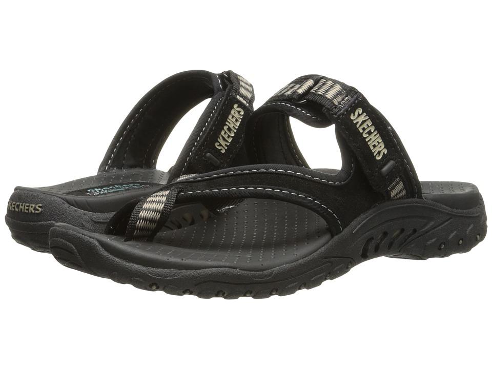 SKECHERS - Reggae - Rasta (Black Suede/ Beige Trim) Women's Sandals