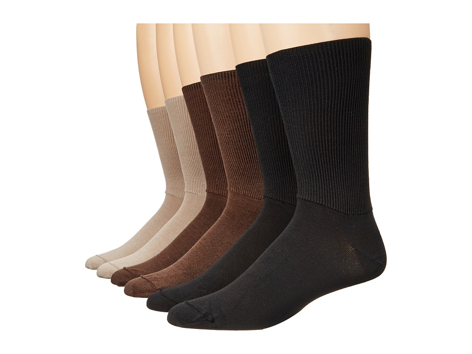 Wigwam - Diabetic Walker 6-Pair Variety Pack (Black, Brown, Khaki) Crew Cut Socks Shoes