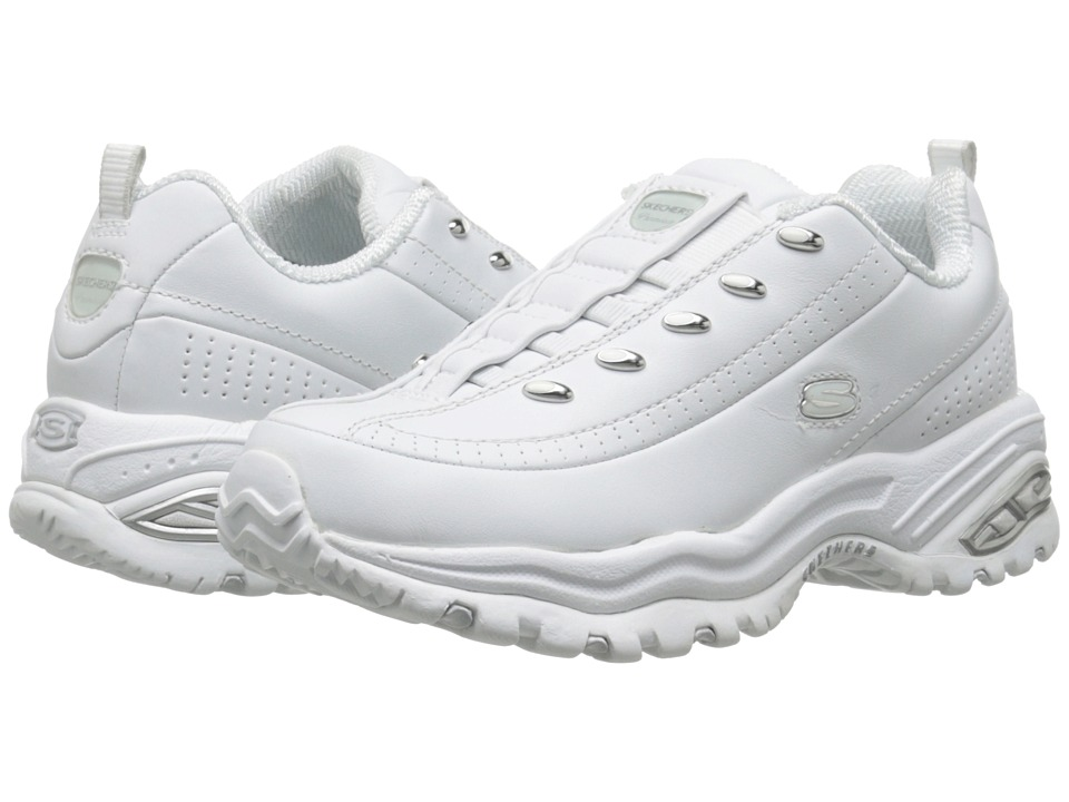 SKECHERS - Premix (White Leather) Women's Flat Shoes