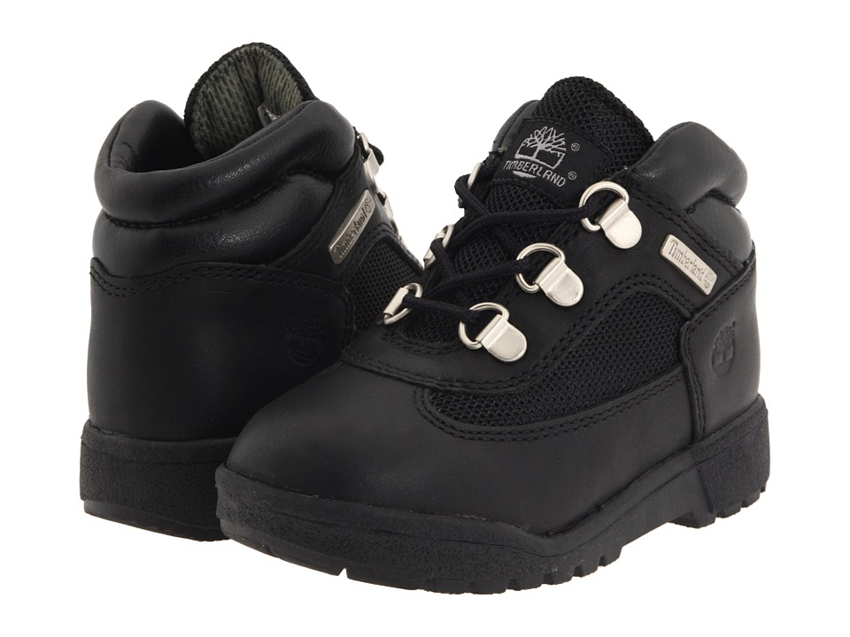 Timberland Kids - Field Boot Leather Fabric Core (Toddler/Little Kid) (Black Smooth) Boys Shoes