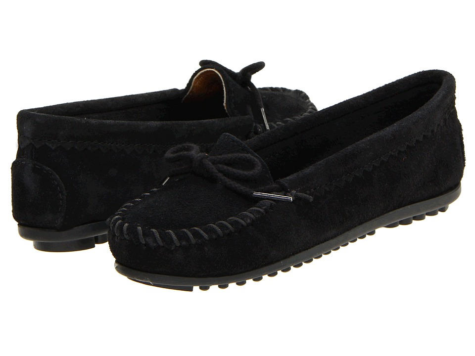 Minnetonka - Suede Skimmer Moc (Black Suede) Women's Flat Shoes