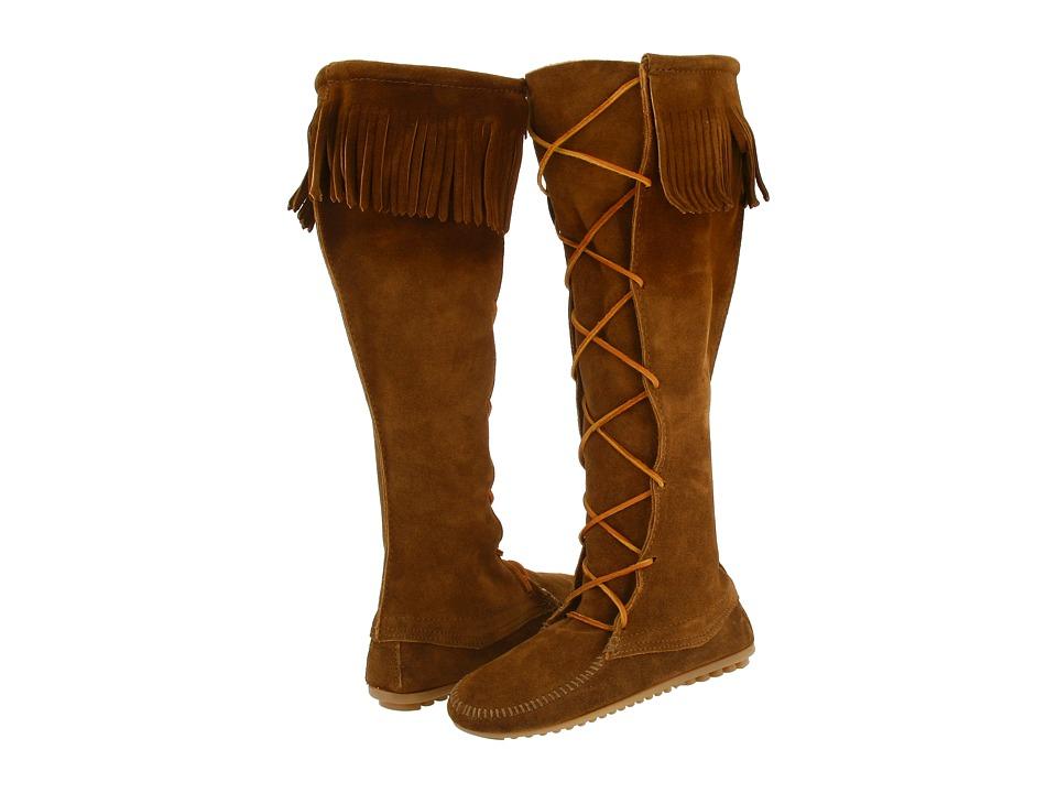 Minnetonka Front Lace Hardsole Knee Hi Boot (Dusty Brown Suede) Women