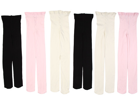 Jefferies Socks - Smooth Microfiber Tights 6-Pair Pack (Infant/Toddler/Little Kid) (Ivory/Black/Pink) Hose