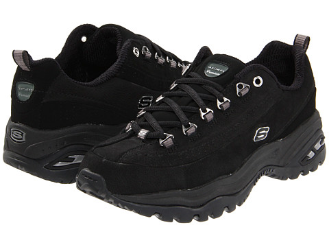 SKECHERS - Premium (Black Nubuck) Women's Lace up casual Shoes