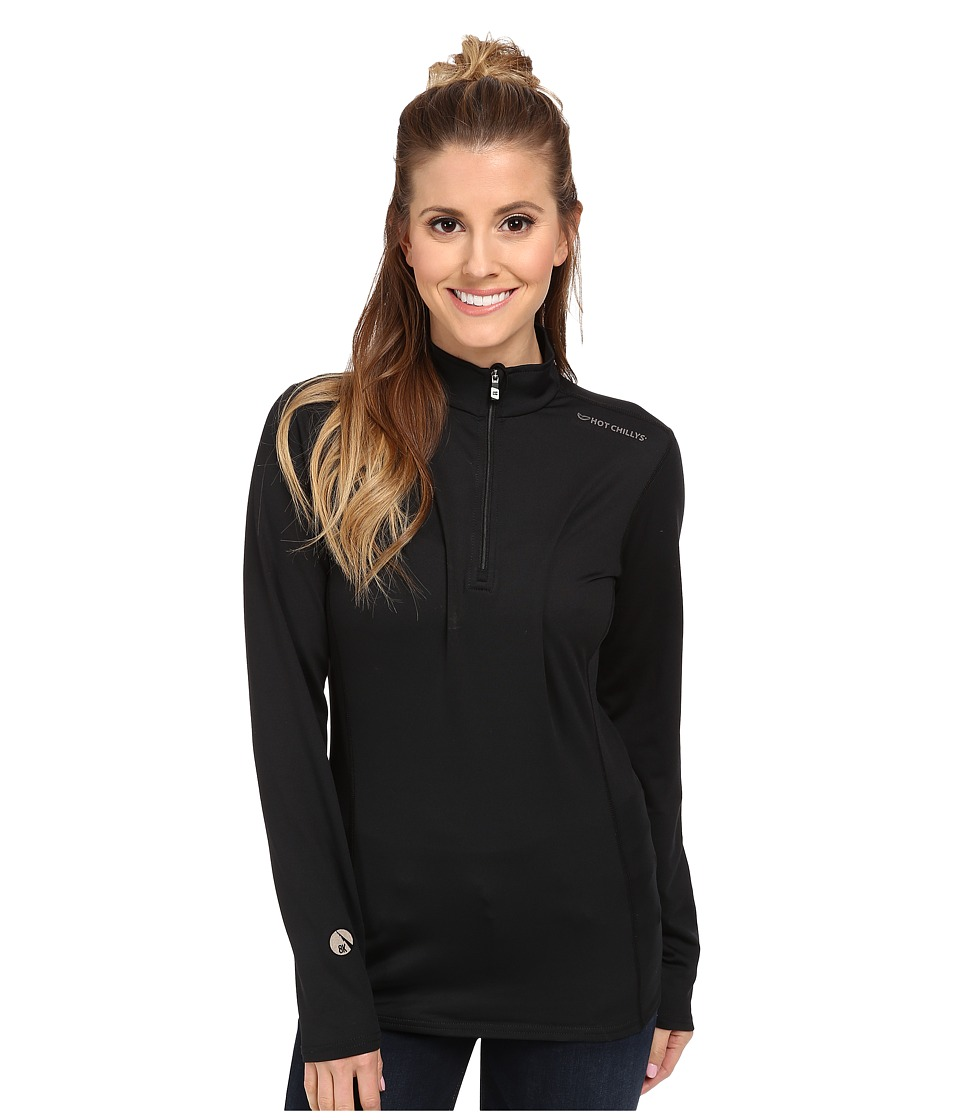 Hot Chillys - Micro-Elite Chamois 8K Solid Zip-T (Black) Women's Long Sleeve Pullover