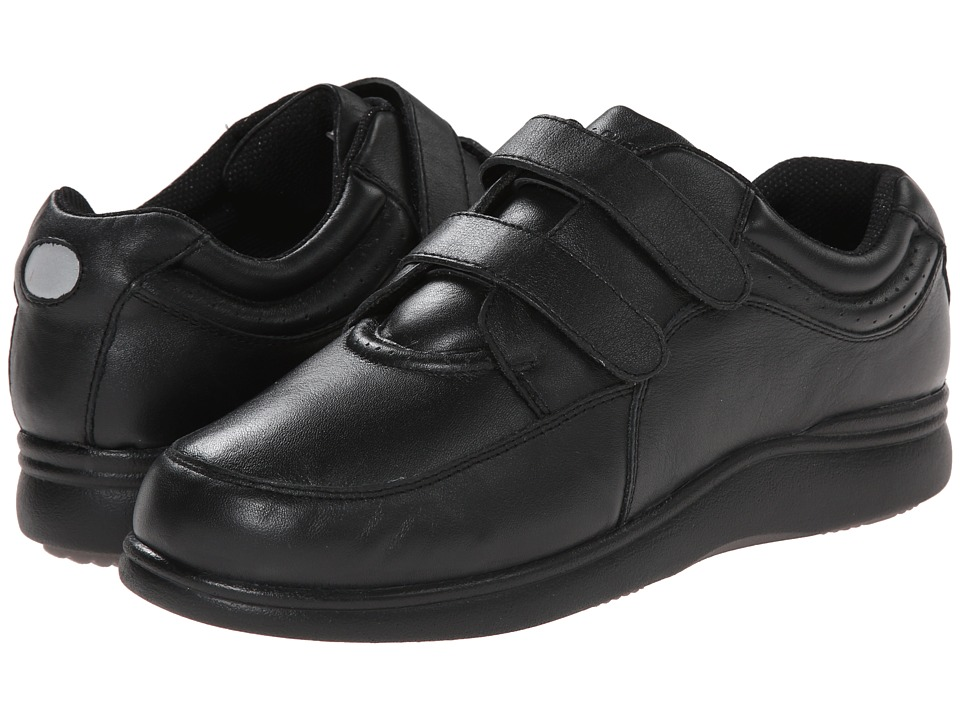Hush Puppies - Power Walker II (Black Leather) Women's Walking Shoes