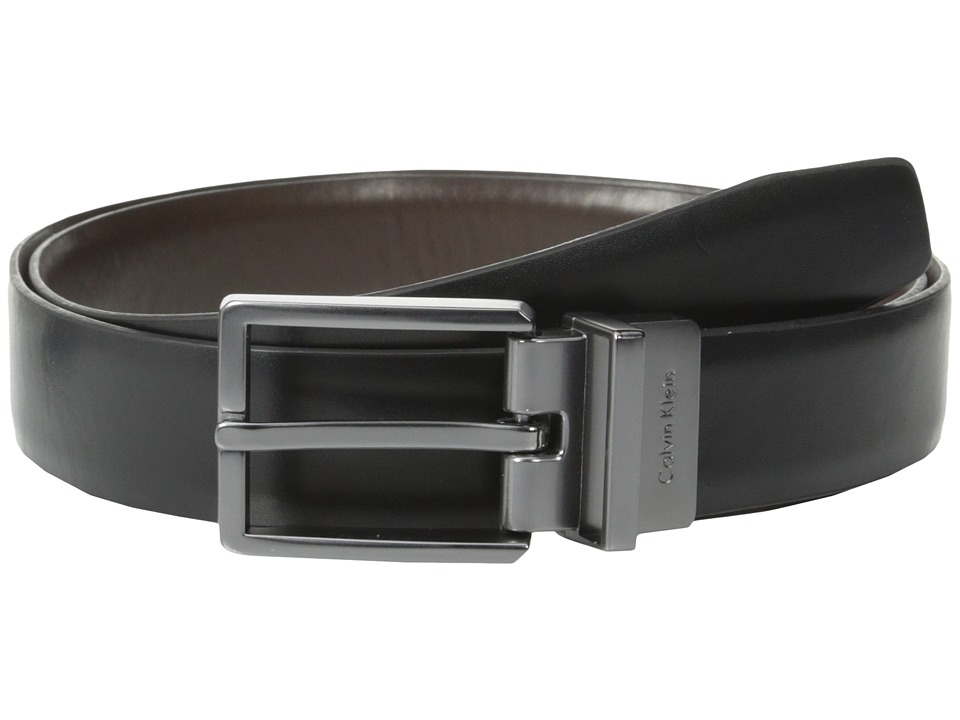 Calvin Klein - Top Performer 30mm Belt (Black/Brown) Men's Belts