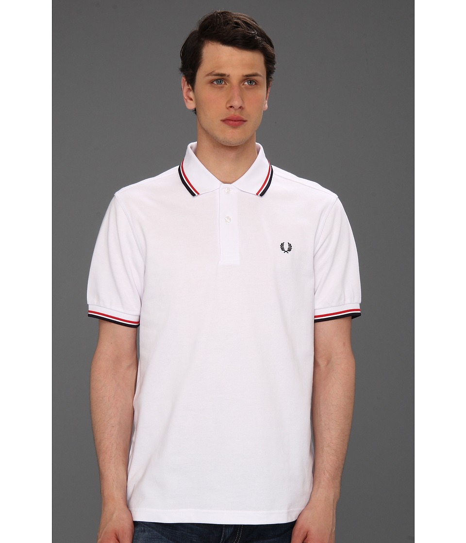Fred Perry - Twin Tipped Fred Perry Polo (White/Bright Red/Navy) Men's Short Sleeve Pullover