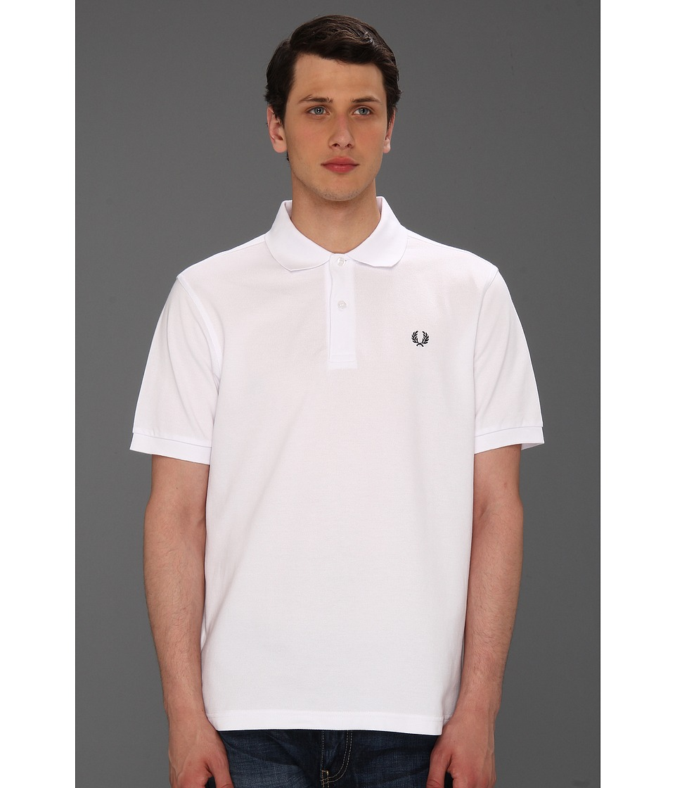Fred Perry - Plain Fit Fred Perry Shirt (White/Navy) Men's Short Sleeve Knit