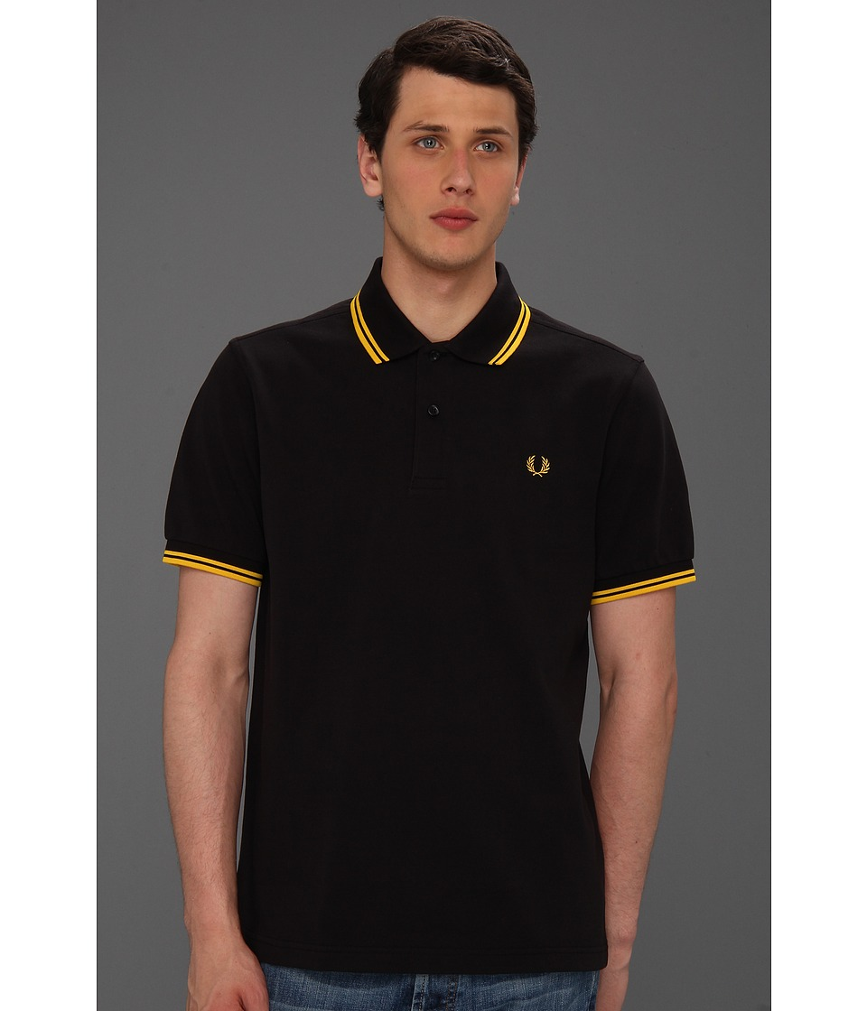 Fred Perry - Twin Tipped Fred Perry Polo (Black/Yellow/Yellow) Men's Short Sleeve Pullover