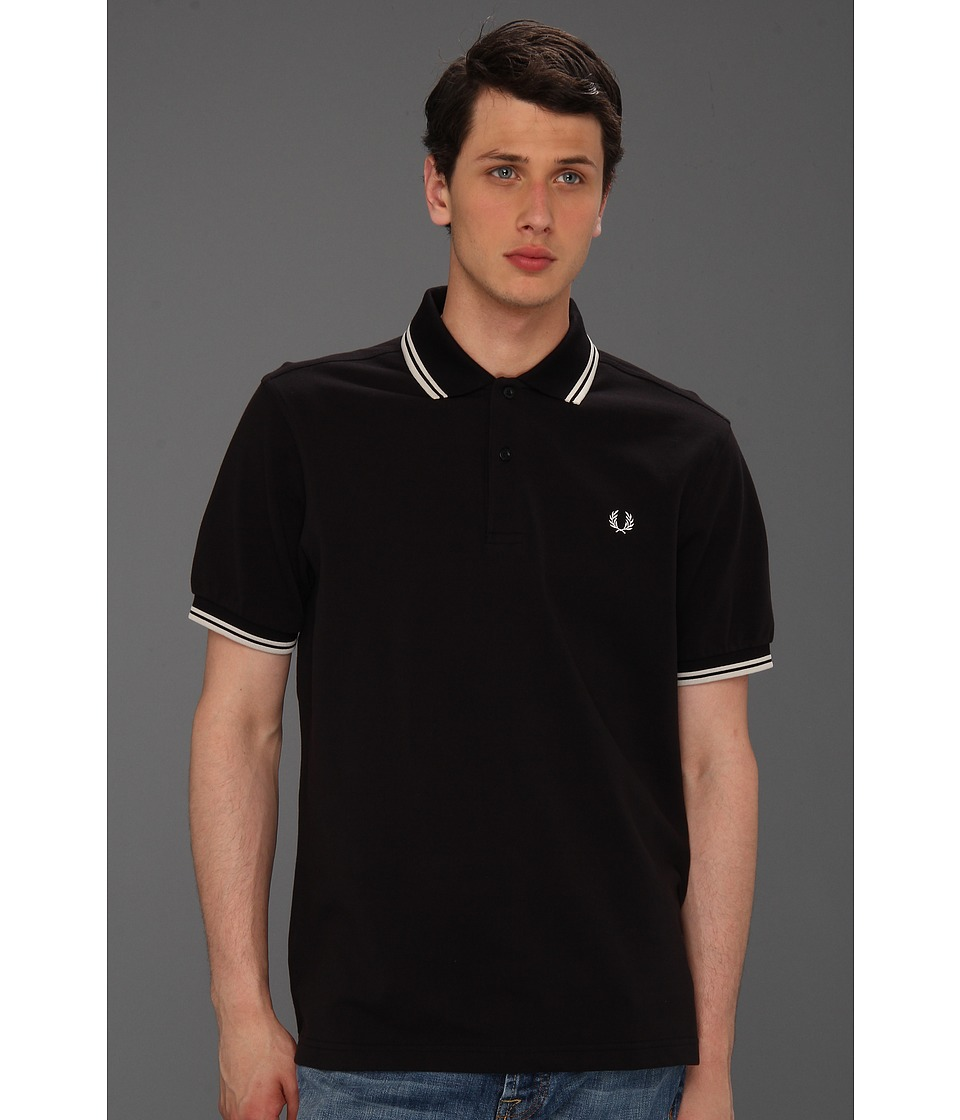 Fred Perry - Twin Tipped Fred Perry Polo (Black/Porcleain/Porcleain) Men's Short Sleeve Pullover