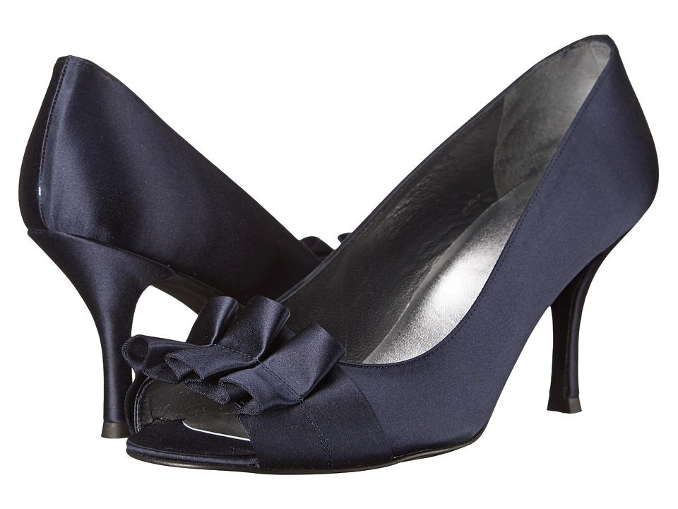Stuart Weitzman Bridal & Evening Collection - Gigiritz (Navy Satin) Women's Slip-on Dress Shoes