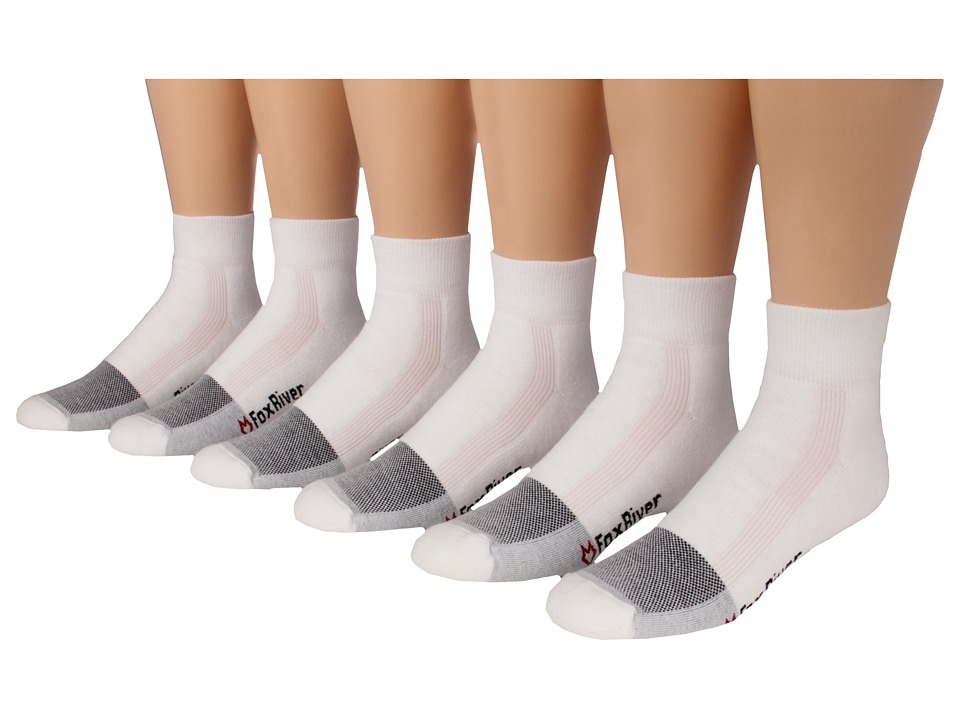 Fox River - Wick Dry Triathlon Quarter Cool Max X-Training 6-Pair Pack (White) Quarter Length Socks Shoes
