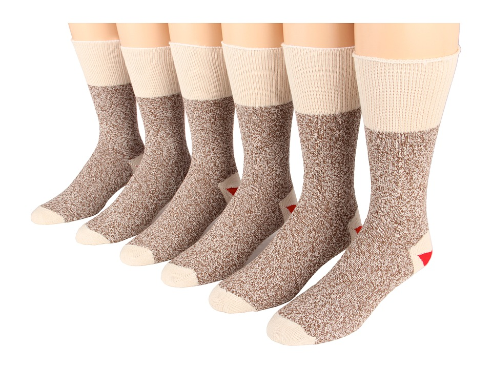 Fox River - Red Heel Monkey Crew 6-Pair Pack (Brown Heather) Crew Cut Socks Shoes