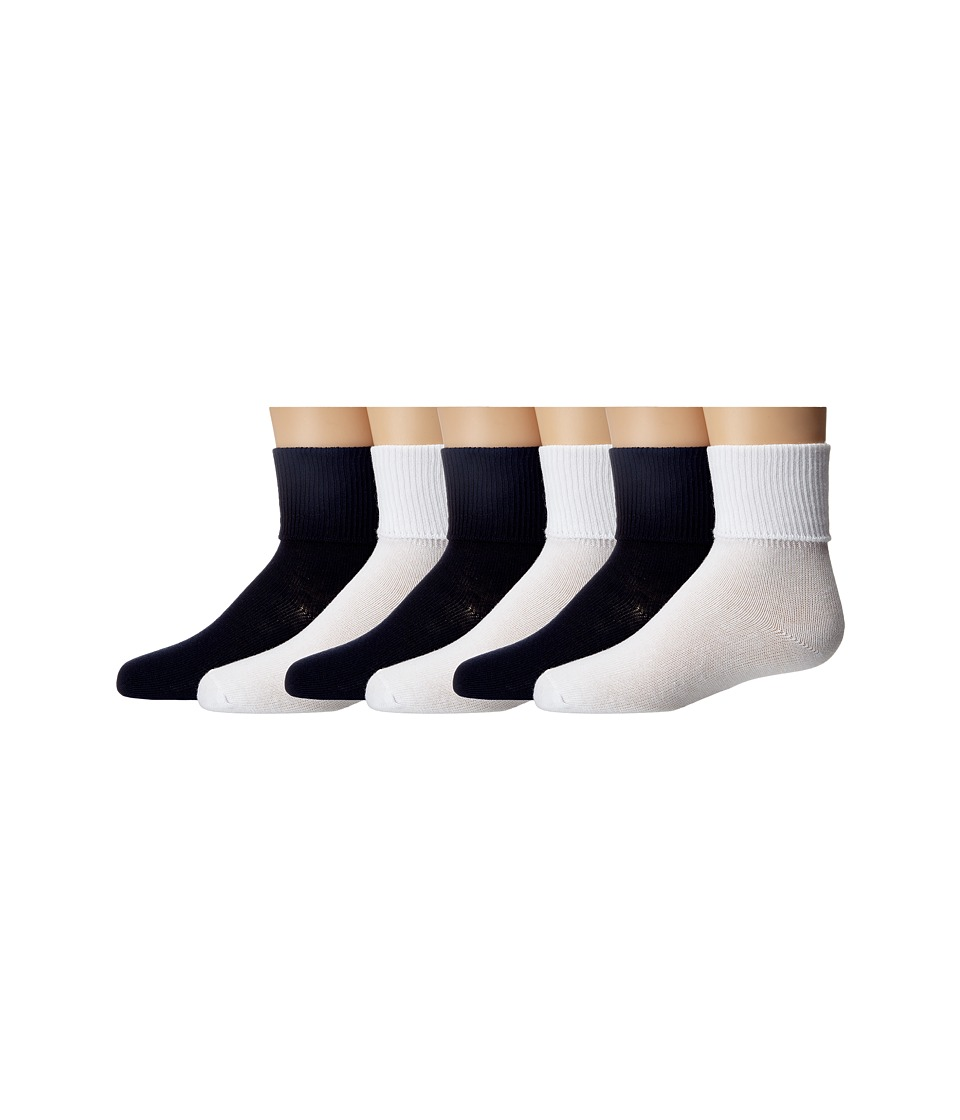 Jefferies Socks - Turncuff 6 Pair Pack (Infant/Toddler/Little Kid/Big Kid/Adult) (White/Navy) Girls Shoes