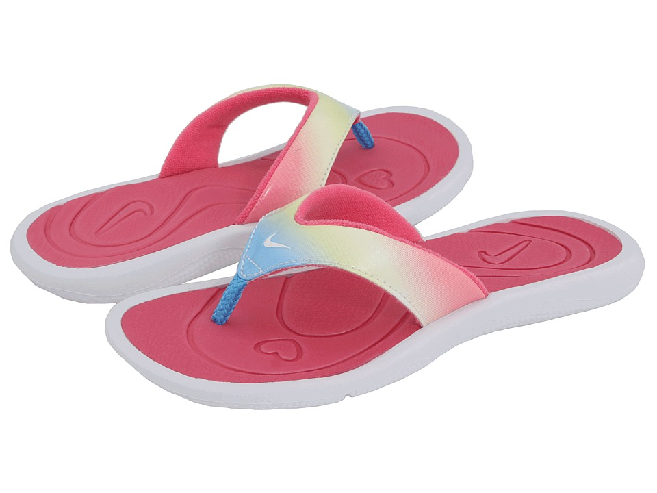 Nike Kids - New Aqua Motion Thong (Little Kid/Big Kid) (White/White/Light Rose) Girls Shoes