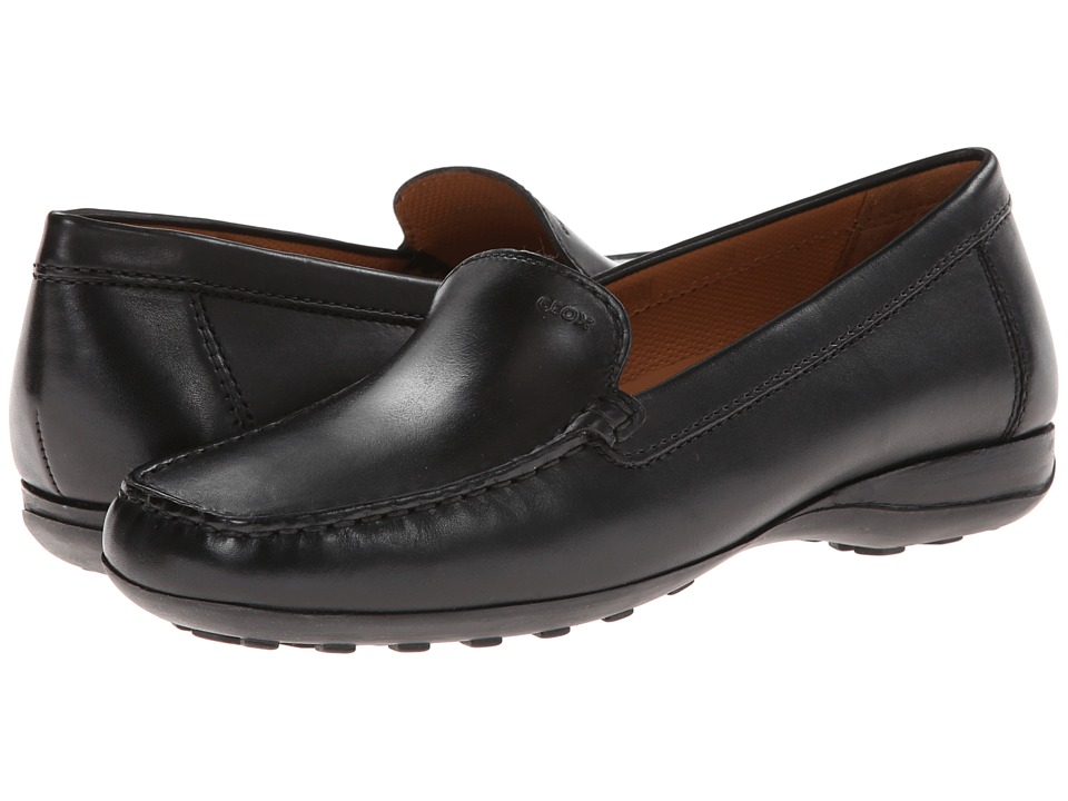 Geox - Donna Euro 0018 (Black Leather) Women's Slip on Shoes