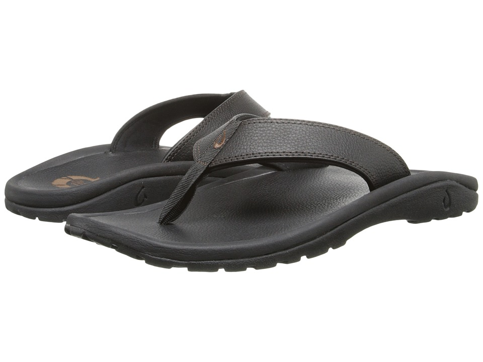 OluKai Ohana Leather (Black/Black) Men