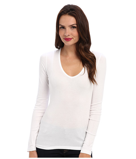 Splendid - 1x1 L/S V-Neck Top (White) Women