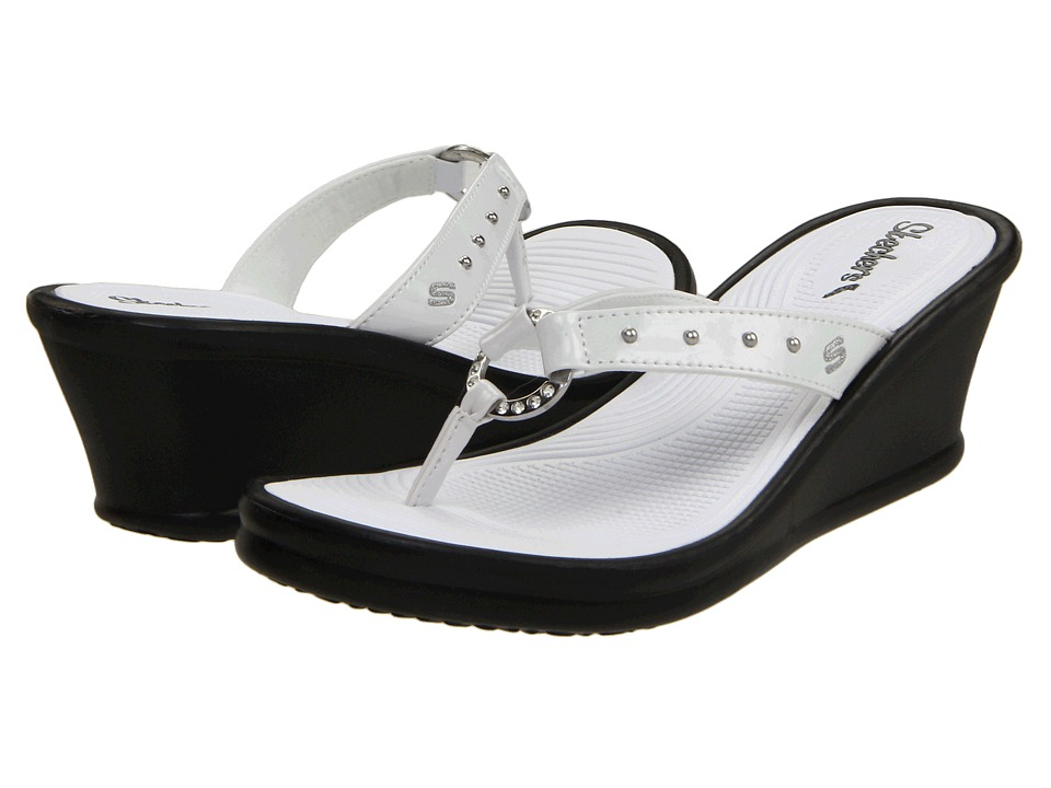 SKECHERS - Rumblers - Kitty (White) Women's Wedge Shoes