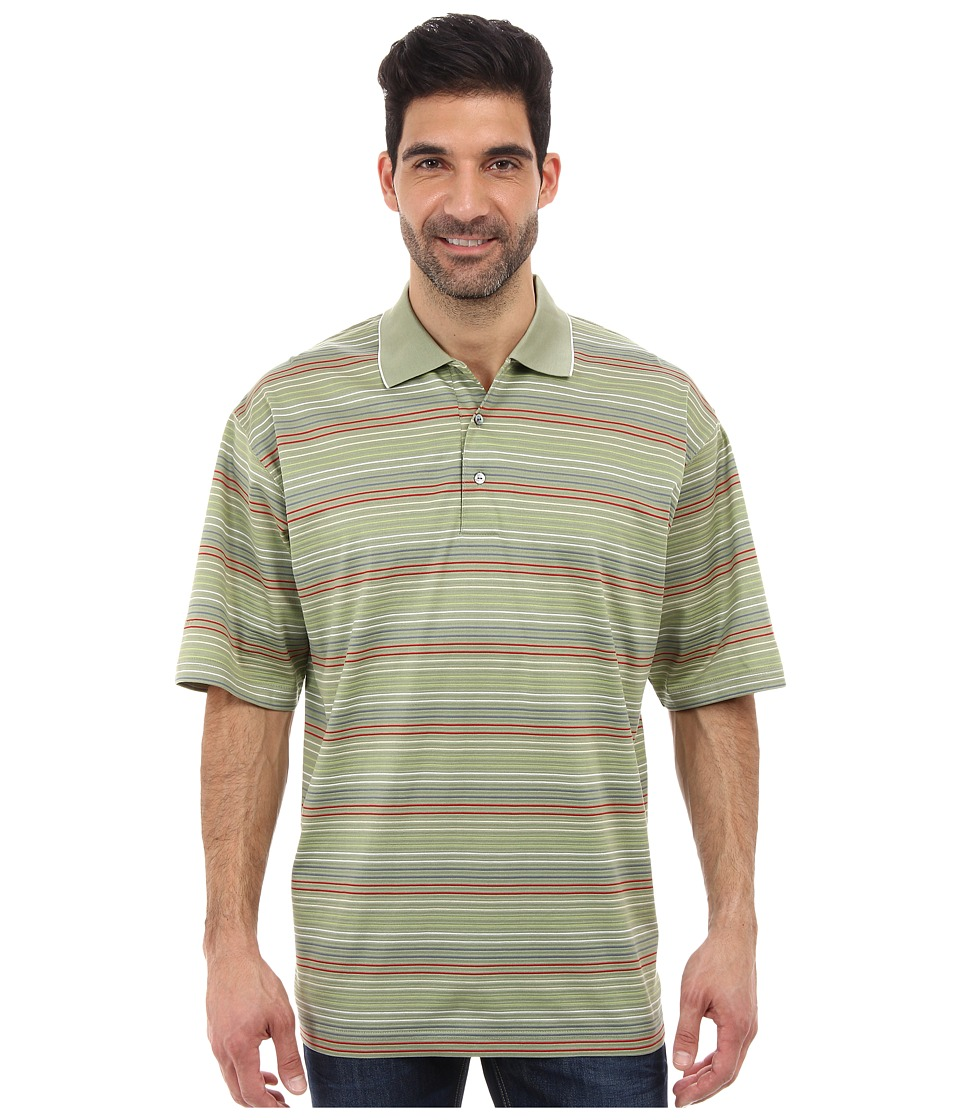 Ben Hogan - Striped Jacquard Polo Shirt (Fatigue) Men's Clothing