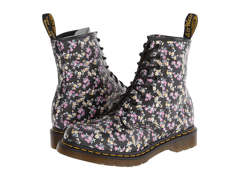 Dr. Martens - 1460 W (Black Floral Patent) Women's Lace-up Boots