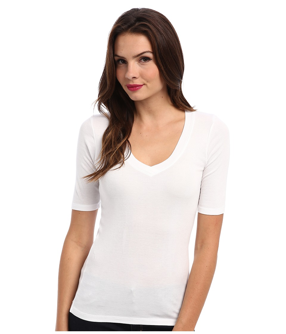 Splendid 1x1 Half Sleeve V-Neck Top (White) Women