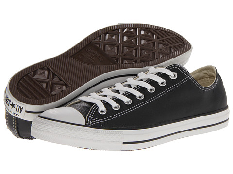 Converse - Chuck Taylor All Star Leather Ox (Black/White Leather) Shoes
