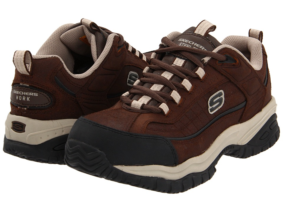 SKECHERS Work - Soft Stride - Dexter (Brown) Men's Lace up casual Shoes