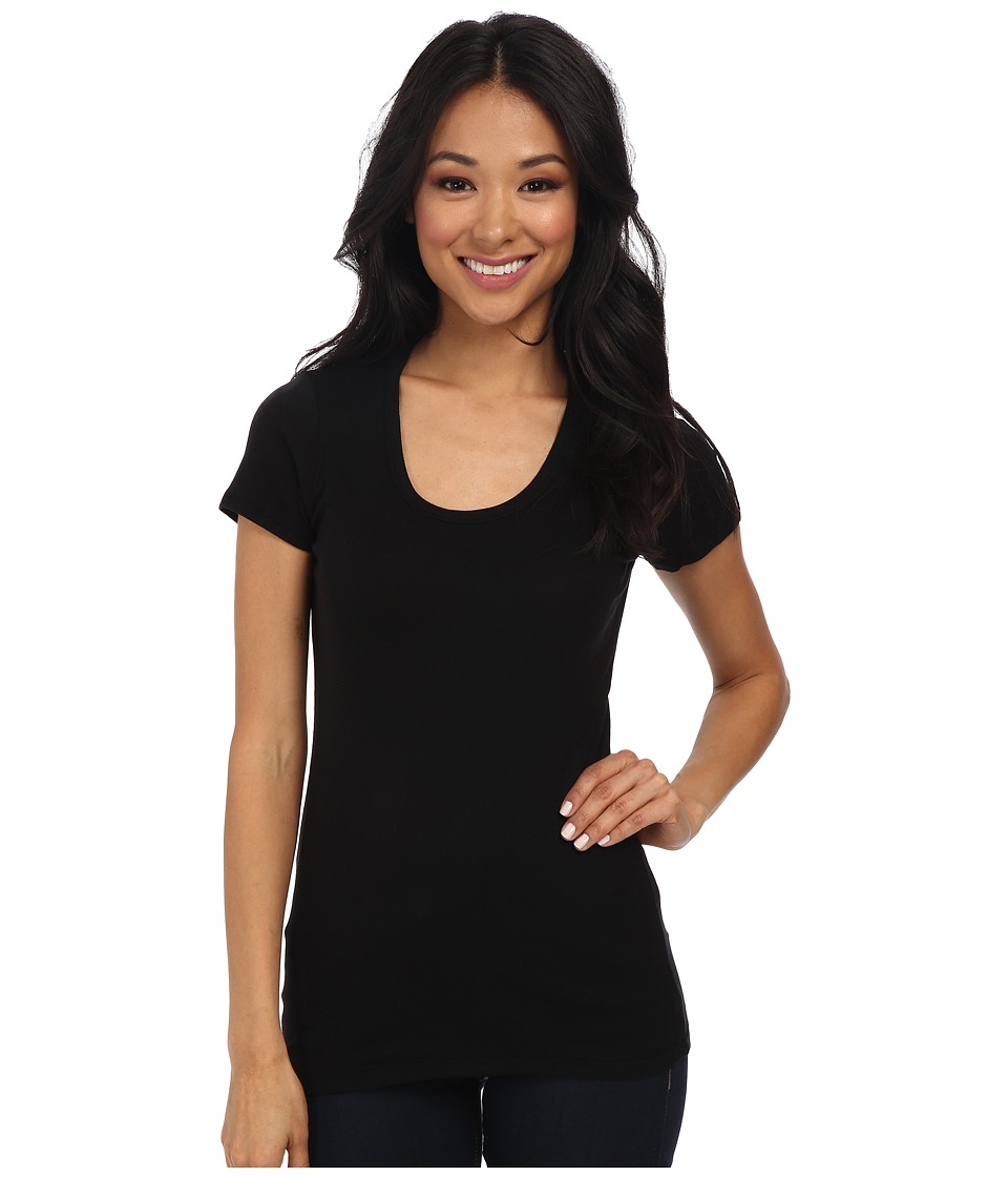 Splendid - 1x1 Rib Scoop Tee (Black) Women's T Shirt