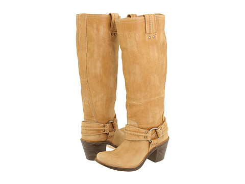 Frye - Carmen Harness Tall (Lt. Tan Leather) Cowboy Boots