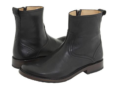 Frye - Oliver Inside Zip (Black Full Grain Leather) Cowboy Boots