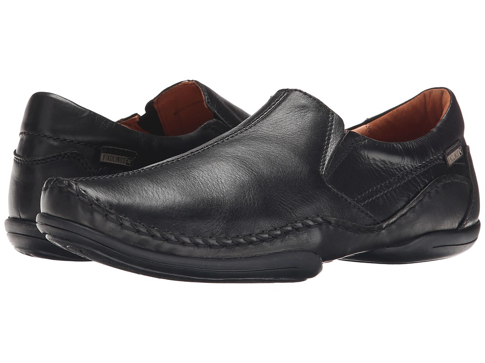 Pikolinos - Puerto Rico Center Seam 03A-6744 (Black Leather) Men's Slip on Shoes
