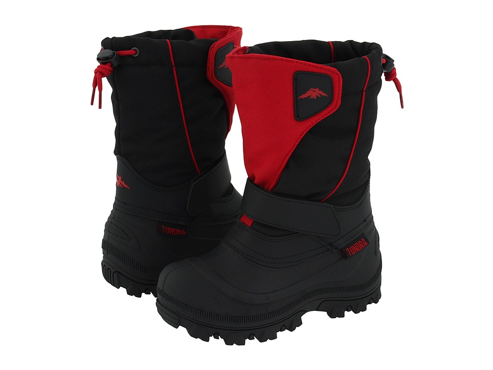 Tundra Boots Kids - Quebec Wide (Toddler/Little Kid/Big Kid) (Black/Red) Boys Shoes