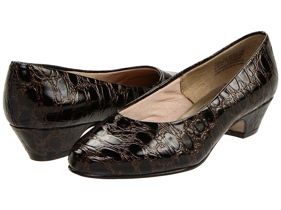 Soft Style - Angel II (Dark Brown Patent Croco) Women's 1-2 inch heel Shoes plus size,  plus size fashion plus size appare