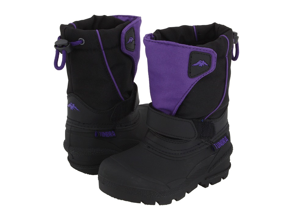 Tundra Boots Kids - Quebec (Toddler/Little Kid/Big Kid) (Black/Purple) Girls Shoes