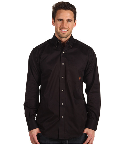 3b0e4bcd21c1 751702981110. Ariat - Solid Twill Shirt (Black) Men s Long Sleeve Button Up