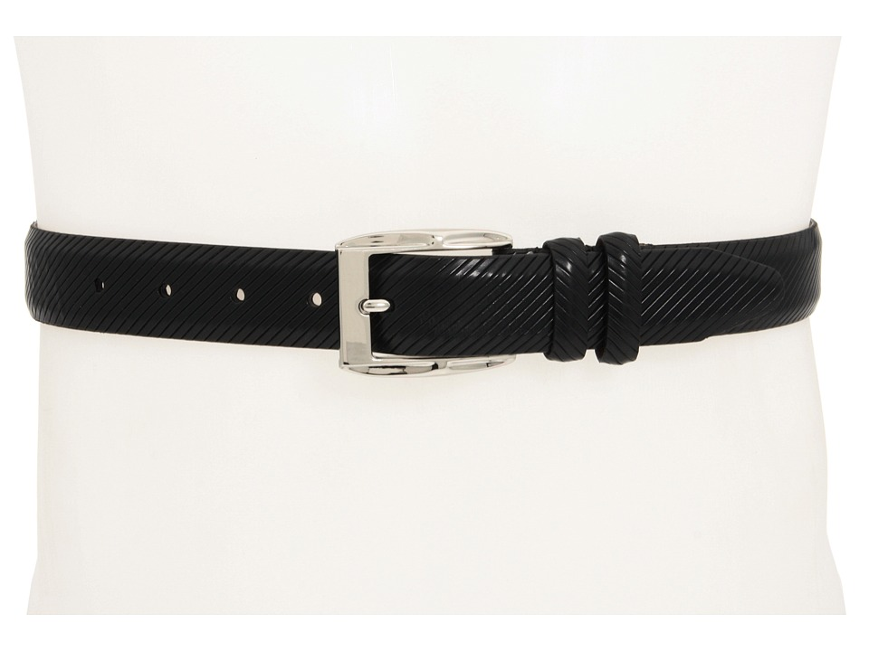 Johnston & Murphy - Diagonal Scored Belt (Black) Men's Belts