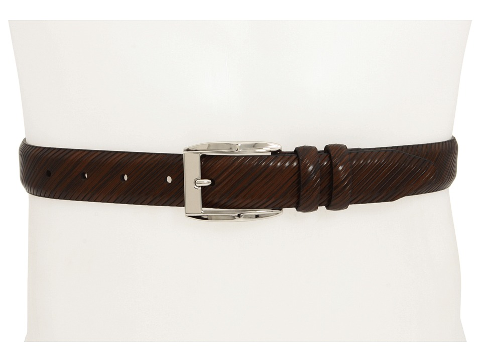 Johnston & Murphy - Diagonal Scored Belt (Brown) Men's Belts