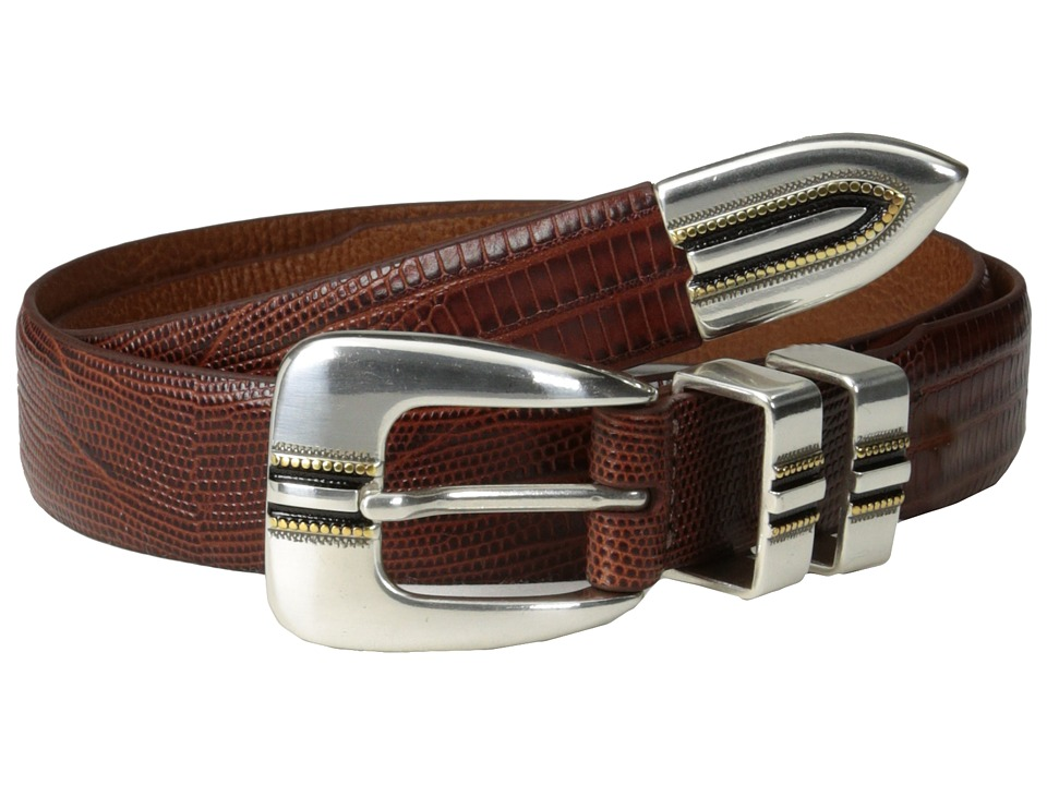 Johnston & Murphy - Lizard-Grain Ranger Belt (Cognac) Men's Belts
