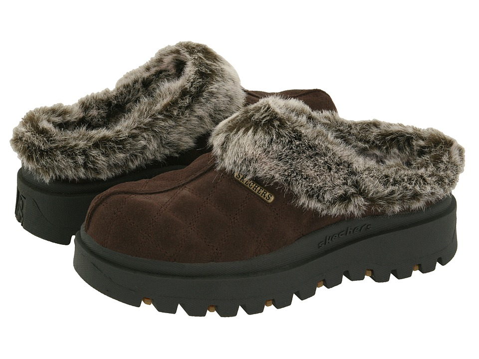 SKECHERS - Shindigs - Miracle (Chocolate Suede/Faux-fur Lining) Women's Clog Shoes