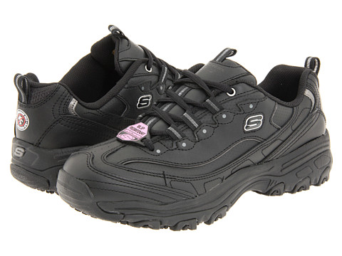 SKECHERS Work - D'Lite SR (Black Leather) Women's Industrial Shoes