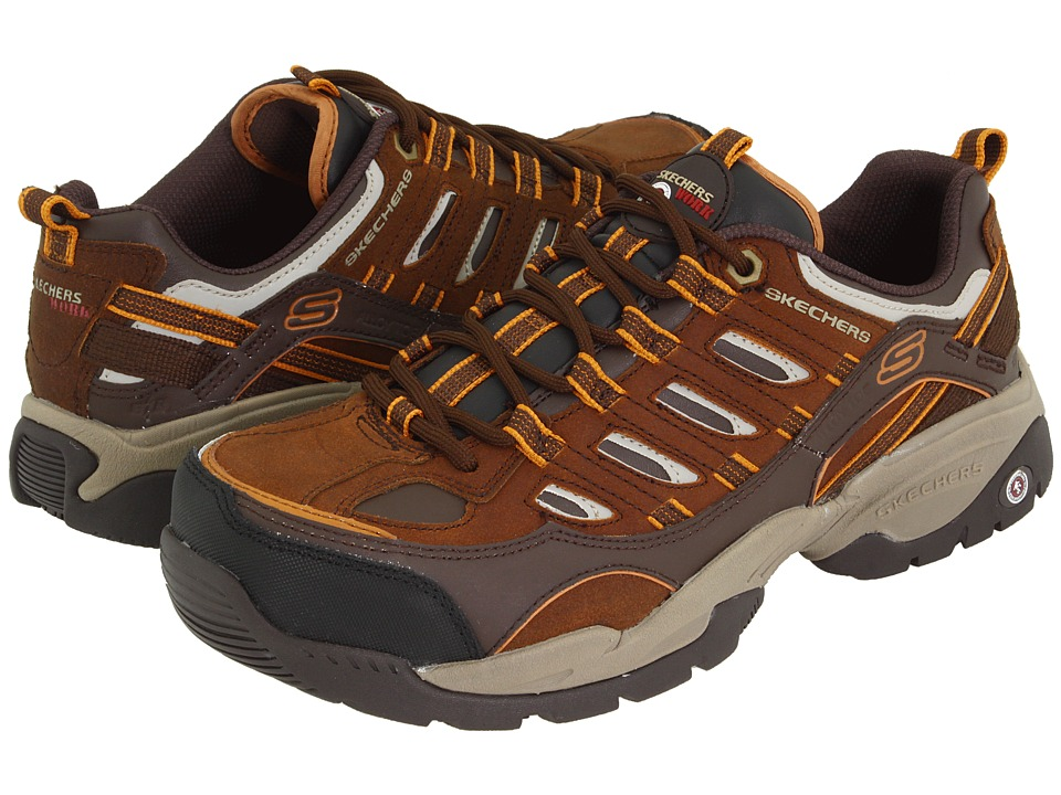 SKECHERS Work - Sparta S R - Safety Toe (Brown Leather/Orange Trim) Men's Industrial Shoes