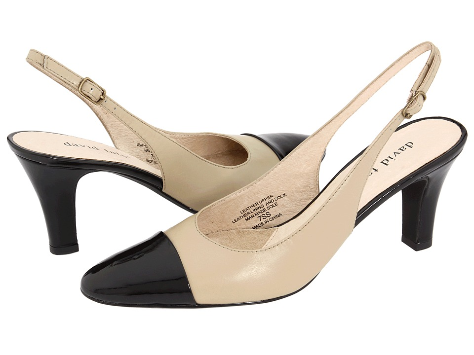David Tate - Grace (Natural/Black Patent) Women's Sling Back Shoes
