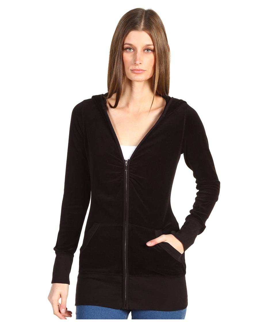 Juicy Couture - L/S Long V-Neck Zip Hoodie (Core) (Black) Women's Sweatshirt