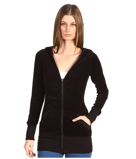 Juicy Couture - L/S Long V-Neck Zip Hoodie (Core) (Black) Women