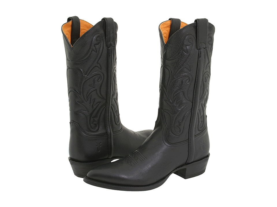 Frye - Bruce Pull On (Black Leather) Cowboy Boots